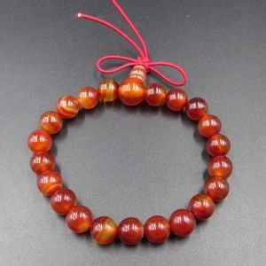 Jewelry - Vintage Stunning Red Orange Glass Beads Bracelet